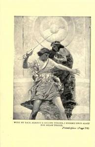 Ilustracja Franka E. Schoonovera przedstawiająca Johna Cartera i Dejah Thoris