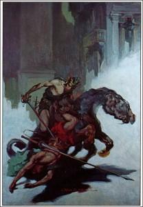 Ilustracja, która służyła za okładkę książkowego wydania powieści. Obraz J. Allena St. Johna pokazuje przemoc.