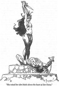 Co ciekawe Frazetta robi wrazenie także w ilustracjach pozbawionych koloru.
