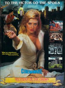 Niezwykle mnie dziwi głośne pokrzykiwanie na okładkę/reklamę gry Barbarians, która miała wprowadzić jakoby seks do gier. Defender of the Crown ze swoim nawiązywaniem do klasyki kina (jak ktoś nie widzi, to znaczy, że nie widział Erola Flynna i całej masy filmów o R. Hoodzie) jakoś pozostaje zapomniany.